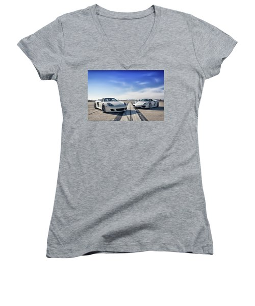 #porsche #carreragt And #918spyder Women's V-Neck T-Shirt