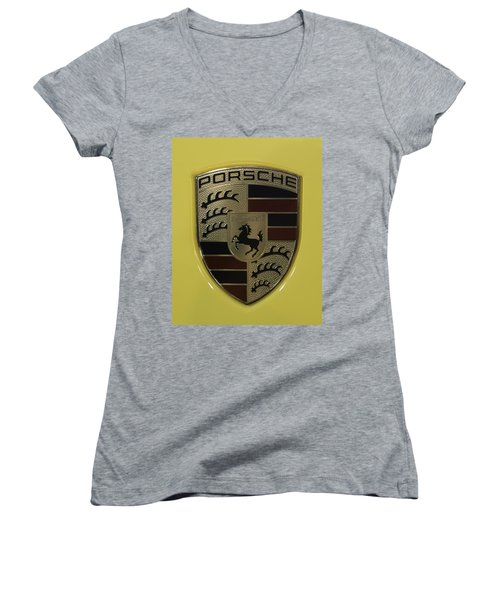 Porsche Emblem On Racing Yellow Women's V-Neck T-Shirt (Junior Cut) by Sebastian Musial