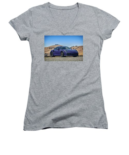 #porsche #gt3rs #ultraviolet Women's V-Neck T-Shirt