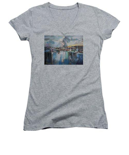 Port At Dusk II Women's V-Neck T-Shirt