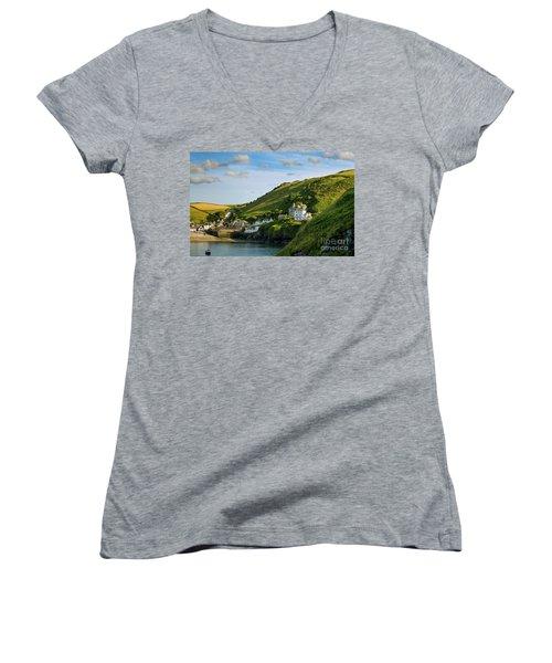 Women's V-Neck T-Shirt (Junior Cut) featuring the photograph Port Issac Hills by Brian Jannsen