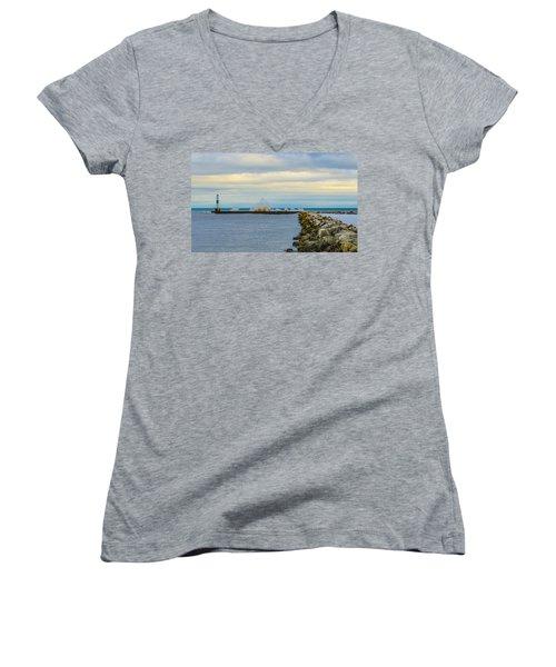 Women's V-Neck T-Shirt (Junior Cut) featuring the photograph Port Washington Light 1 by Deborah Smolinske