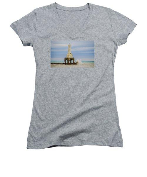 Women's V-Neck T-Shirt (Junior Cut) featuring the photograph Port Washington Light 3 by Deborah Smolinske