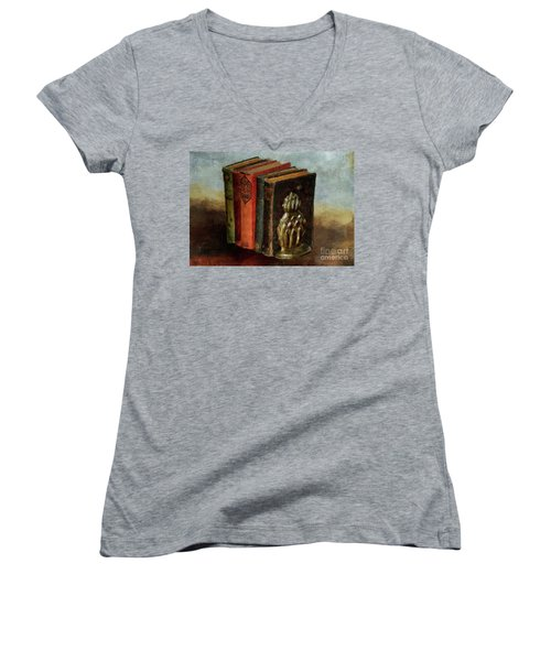 Women's V-Neck T-Shirt (Junior Cut) featuring the digital art Portable Magic by Lois Bryan