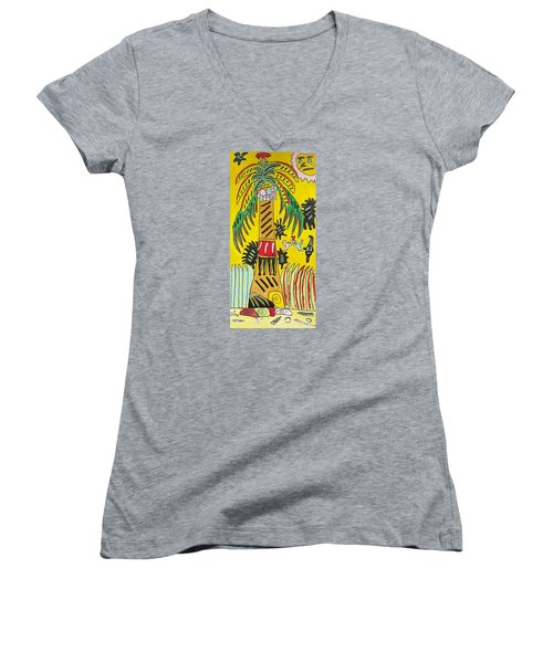 Women's V-Neck T-Shirt (Junior Cut) featuring the painting Portal To Adventure by Artists With Autism Inc