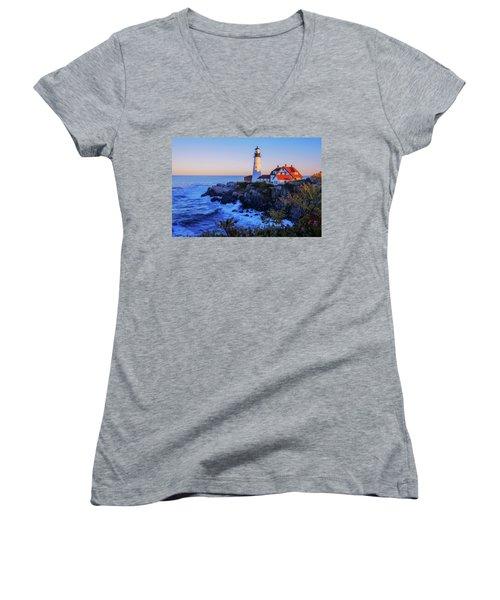 Portland Head Light II Women's V-Neck T-Shirt (Junior Cut) by Chad Dutson