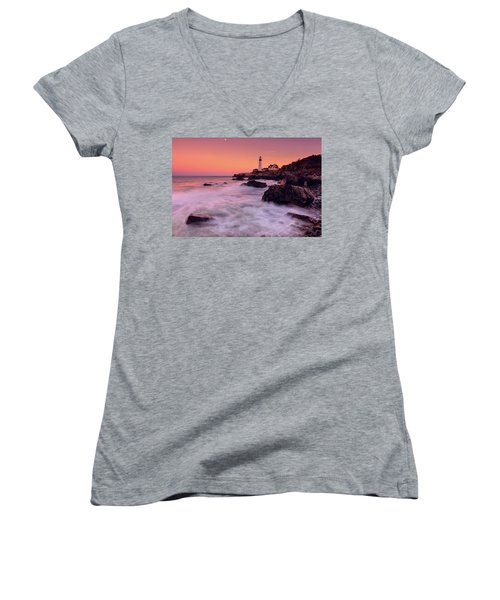 Women's V-Neck T-Shirt (Junior Cut) featuring the photograph Portland Head Light In Pink  by Emmanuel Panagiotakis