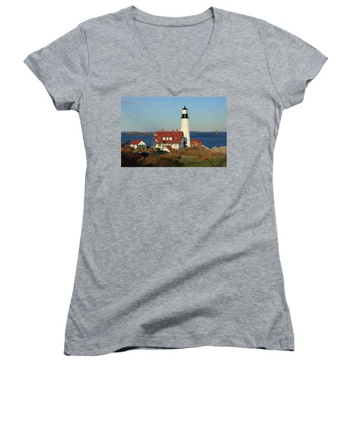 Portland Head Lighthouse 2 Women's V-Neck T-Shirt