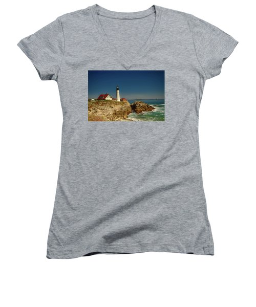 Portland Head Lighthouse 2 Women's V-Neck T-Shirt (Junior Cut) by Sherman Perry