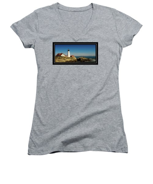 Portland Head Lighthouse 7 Women's V-Neck T-Shirt (Junior Cut) by Sherman Perry