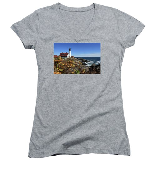 Portland Head Lighthouse In The Fall Women's V-Neck T-Shirt