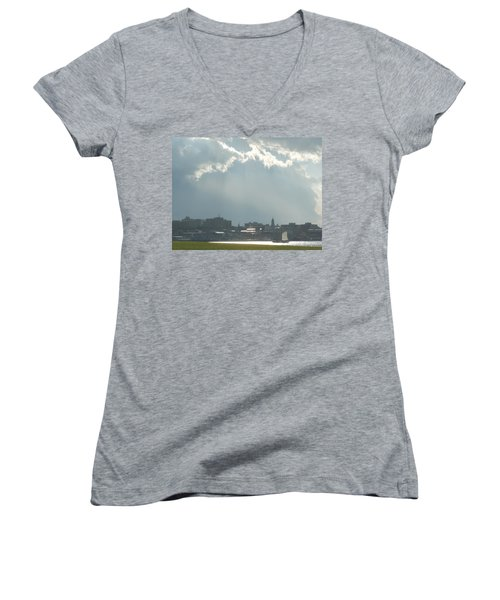 Portland Maine Women's V-Neck T-Shirt (Junior Cut)