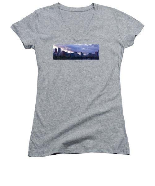 Women's V-Neck T-Shirt (Junior Cut) featuring the photograph Portland Oregon Panorama by Jonathan Davison