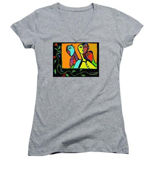 Portrait Women's V-Neck T-Shirt (Junior Cut) by Hans Magden
