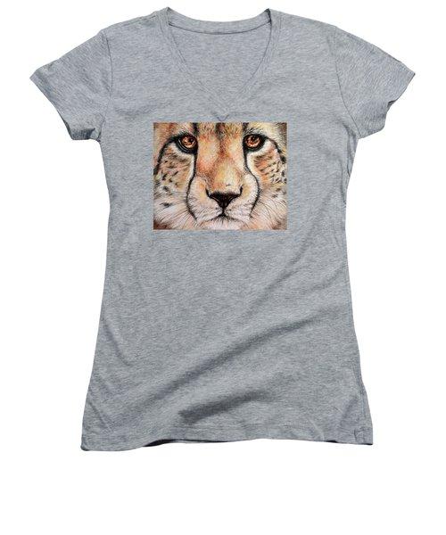 Portrait Of A Cheetah Women's V-Neck T-Shirt