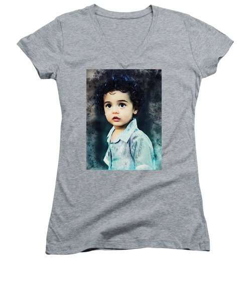 Portrait Of A Child Women's V-Neck (Athletic Fit)