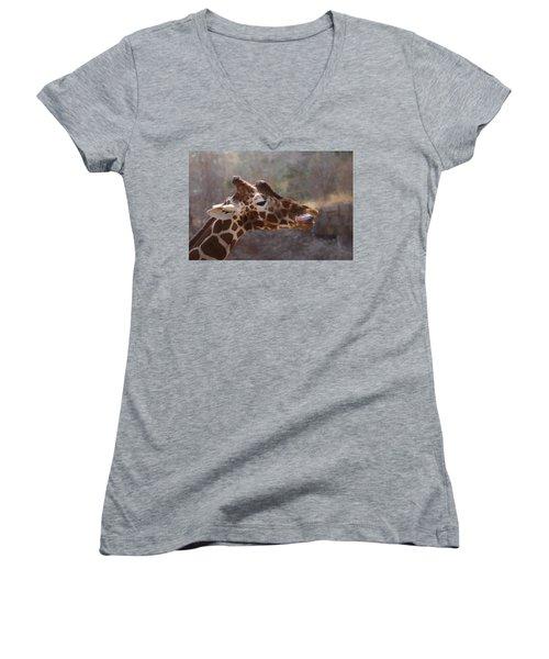Women's V-Neck T-Shirt (Junior Cut) featuring the digital art Portrait Of A Giraffe by Ernie Echols