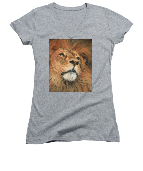 Women's V-Neck T-Shirt (Junior Cut) featuring the painting Portrait Of A Lion by David Stribbling
