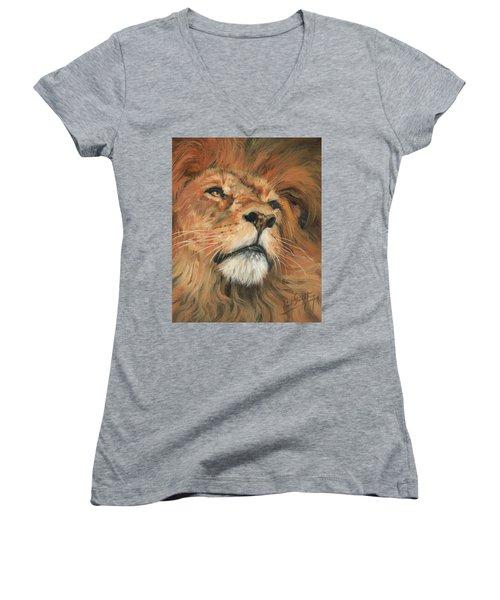 Portrait Of A Lion Women's V-Neck T-Shirt (Junior Cut) by David Stribbling