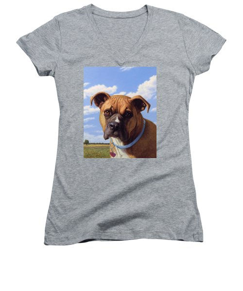 Women's V-Neck T-Shirt (Junior Cut) featuring the painting Portrait Of A Sweet Boxer by James W Johnson