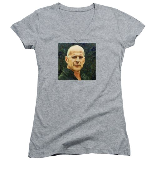 Women's V-Neck T-Shirt (Junior Cut) featuring the digital art Portrait Of Bruce Willis by Charmaine Zoe