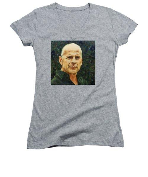 Portrait Of Bruce Willis Women's V-Neck