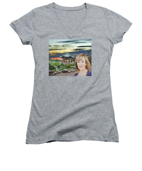 Portrait Of Jamie Colby By The Pagoda In Golden Gate Park Women's V-Neck T-Shirt (Junior Cut) by Jim Fitzpatrick