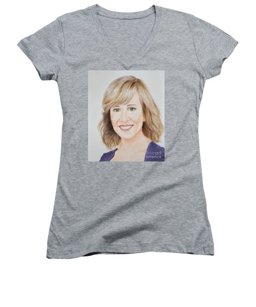 Portrait Of Jamie Colby Women's V-Neck T-Shirt (Junior Cut) by Jim Fitzpatrick