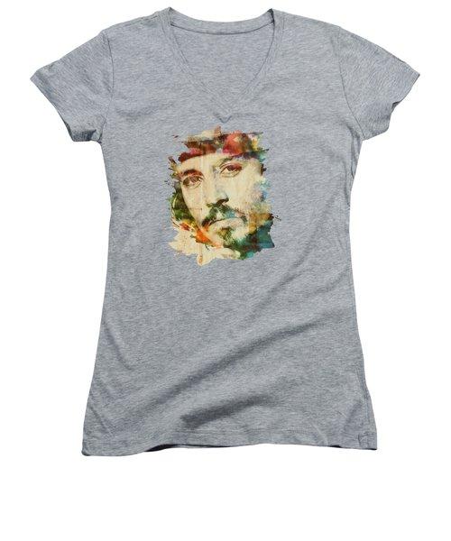 Portrait Of Johnny Women's V-Neck T-Shirt (Junior Cut) by Maria Arango