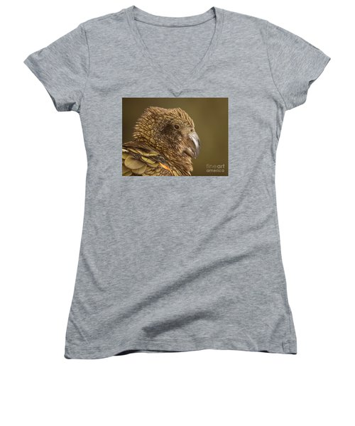 Women's V-Neck T-Shirt (Junior Cut) featuring the photograph Portrait Of Kea Calling by Max Allen