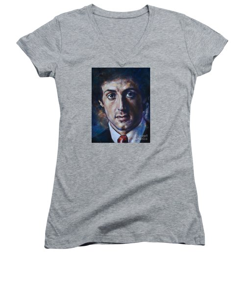 Portrait Of Sylvester Stallone Women's V-Neck