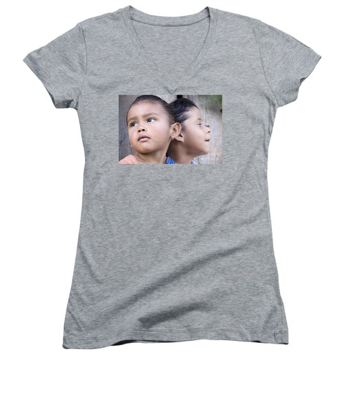 Women's V-Neck T-Shirt (Junior Cut) featuring the photograph Portrait Of Two Panama Girls by Heiko Koehrer-Wagner