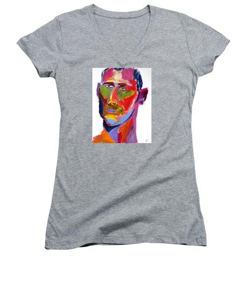 Portrait Prez Women's V-Neck T-Shirt (Junior Cut) by Shungaboy X