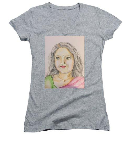 Portrait With Colorpencils 2 Women's V-Neck (Athletic Fit)