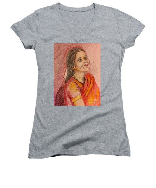 Portrait With Colorpencils Women's V-Neck (Athletic Fit)