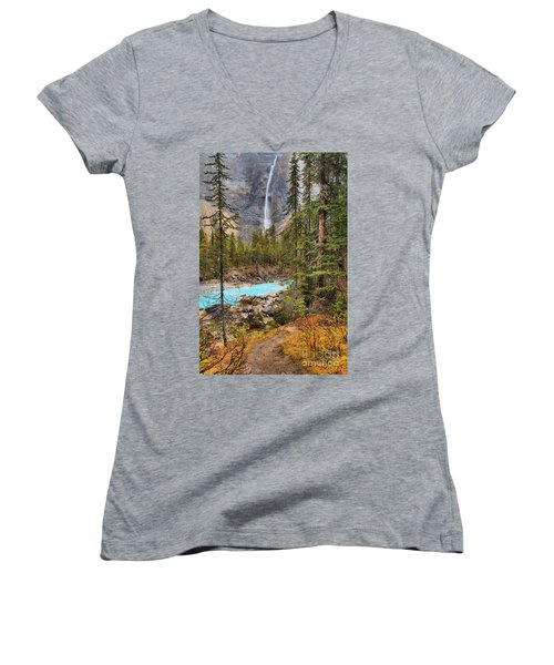Women's V-Neck T-Shirt (Junior Cut) featuring the photograph Portrait Of Takakkaw Falls by Adam Jewell