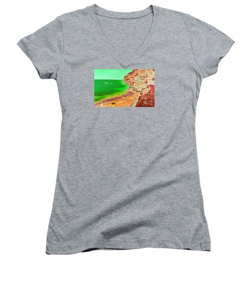 Women's V-Neck T-Shirt (Junior Cut) featuring the painting Positano Bay by Loredana Messina