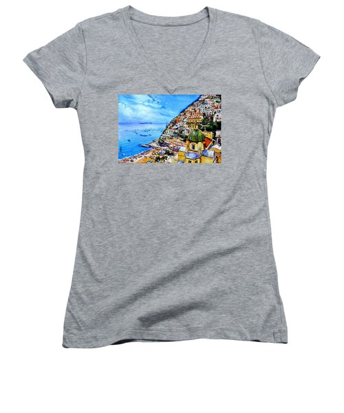 Women's V-Neck T-Shirt featuring the painting Positano by Hanne Lore Koehler