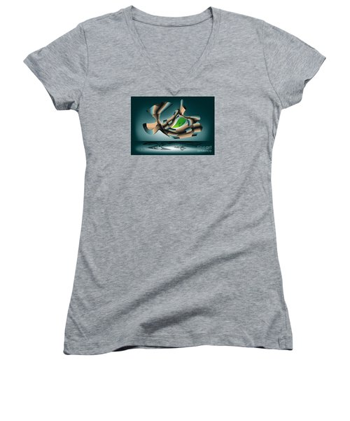 Women's V-Neck T-Shirt (Junior Cut) featuring the digital art Position by Leo Symon