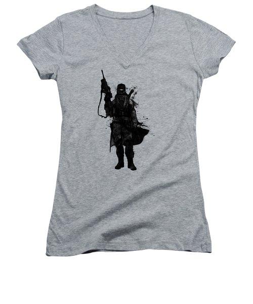 Women's V-Neck T-Shirt (Junior Cut) featuring the digital art Post Apocalyptic Warrior by Nicklas Gustafsson
