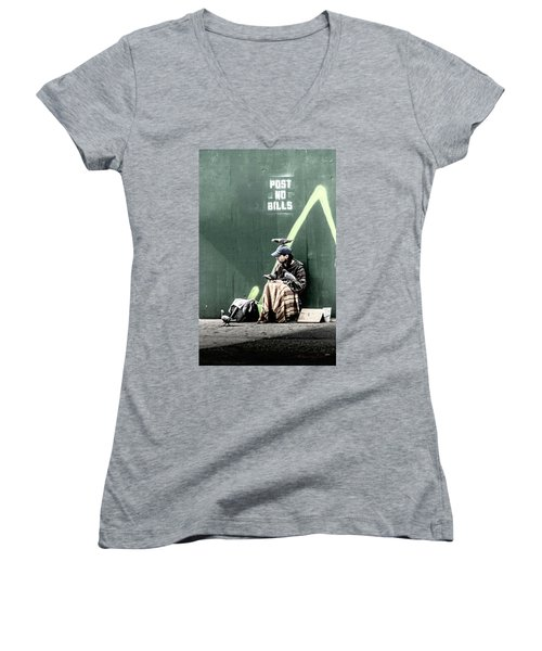 Women's V-Neck T-Shirt (Junior Cut) featuring the photograph Post No Bills by Marvin Spates