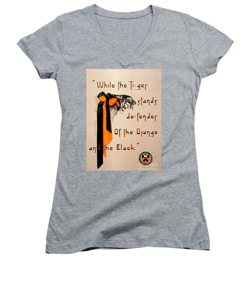 Women's V-Neck T-Shirt (Junior Cut) featuring the painting Poster - Princeton Tigers by Pg Reproductions
