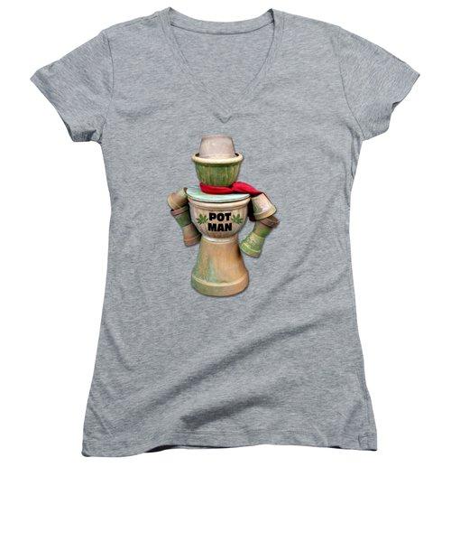 Pot Man T-shirt Women's V-Neck