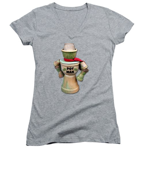 Pot Man T-shirt Women's V-Neck (Athletic Fit)