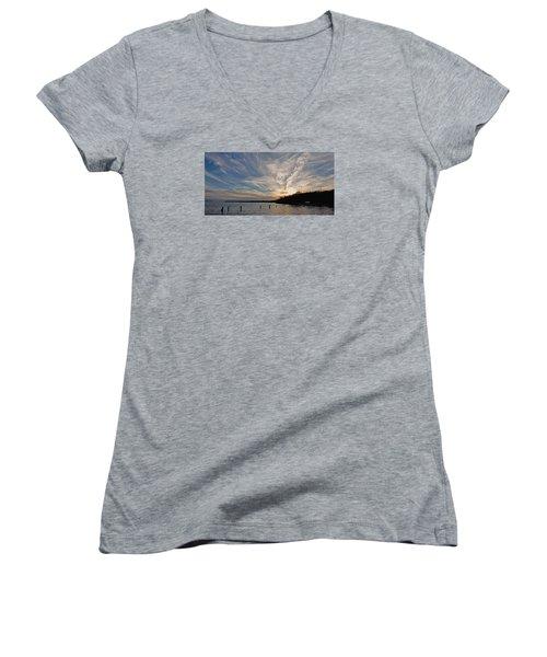 Potomac River Sunset Women's V-Neck T-Shirt
