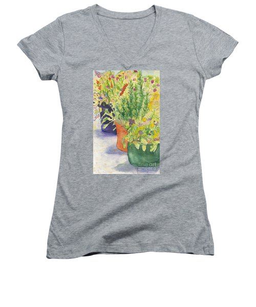 Women's V-Neck T-Shirt (Junior Cut) featuring the painting Potted Beauties  by Vicki  Housel