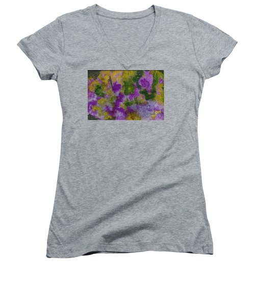 Women's V-Neck T-Shirt (Junior Cut) featuring the painting Pouring Flowers by Vicki  Housel