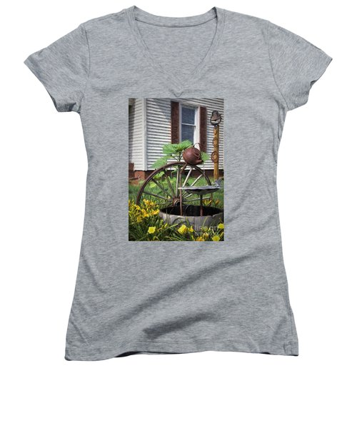 Women's V-Neck T-Shirt (Junior Cut) featuring the photograph Pouring Out The Past by Benanne Stiens