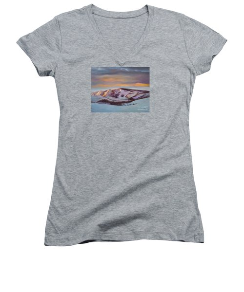 Women's V-Neck T-Shirt (Junior Cut) featuring the painting Powder Mountain by Marlene Book