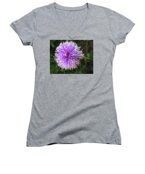 Women's V-Neck T-Shirt (Junior Cut) featuring the photograph Purple Orb by Mary Ellen Frazee